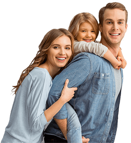 Smiling family of three with healthy teeth