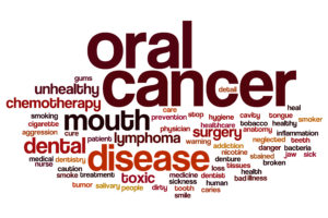 oral cancer word cloud red letters